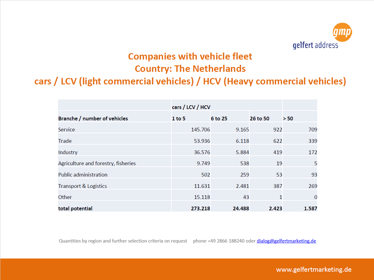 Dutch companies with vehicle fleet